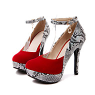 cheap Women's Heels-Women's Shoes Suede Spring Fall Comfort Novelty Heels Pointed Toe Buckle Animal Print for Wedding Party & Evening Black Red