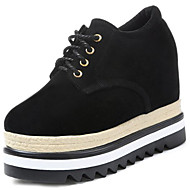 Women's Shoes Rubber Winter Comfort Oxfords Round Toe For Outdoor Dark Brown Black