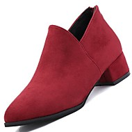 Feminino Sapatos Borracha Inverno Conforto Mocassins e Slip-Ons Salto Baixo Ponta Redonda Para Preto Vinho