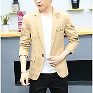 Masculino Terno Casual Simples Outono Inverno,Sólido Padrão Poliéster Colarinho de Camisa Manga Longa