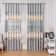 cheap Curtains Drapes-Rod Pocket Grommet Top Tab Top Double Pleat Curtain Contemporary Casual Modern, Embroidery Patchwork Bedroom Polyester Material Curtains