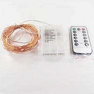 1pc 10m 100 leds kobber wire fairy string lys dekorative lys til ferie bryllupsfest med fjernbetjening