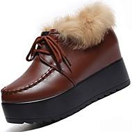 Feminino Sapatos Couro Ecológico Inverno Conforto Oxfords Sem Salto Ponta Redonda para Casual Branco Preto Marron
