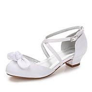 billige Sko til blomsterpiger-Pige Sko Silke Forår Tiny Heels for teenagere / Sko til blomsterpiger / Ankelrem Hæle Rosette / Applikeret broderi / Spænde for Bryllup /