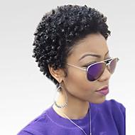 Naisten Ihmisen hiukset Capless Peruukit Musta Lyhyt Kinky Curly Afro Jheri Curl -kiharat Afro-amerikkalainen peruukki