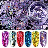 6 병 스팽글 / 많은 6 색 패킹 다이아몬드 화려한 레이저 홀로 그래픽 장식 조각 40g 초박형 스팽글