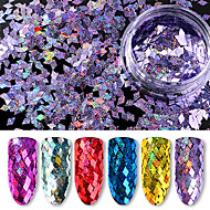 6 flasker sequins / lot 6 farger pakke diamant fargerike laser holografiske paljetter 40g ultra tynne paljetter