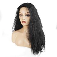 פאות סינתטיות מתולתל שחור שחור שיער סינטטי בגדי ריקוד נשים שחור פאה ארוך ללא מכסה StrongBeauty