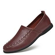 baratos Sapatos Masculinos-Homens Sapatos de Condução Couro Primavera / Verão Mocassins e Slip-Ons Preto / Amarelo / Castanho Escuro