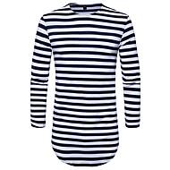 Langærmet Rund hals Medium Herrer Stribet Efterår Vinter Gade Afslappet/Hverdag T-shirt,Bomuld Polyester