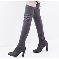 cheap Women's Boots-Women's Nubuck leather Fall / Winter Comfort / Fashion Boots Boots Over The Knee Boots Black / Gray / Red