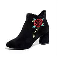 abordables -Femme Chaussures Gomme Cuir Nubuck Hiver Automne Bottes à la Mode boîtes de Combat Bottes Bottine/Demi Botte Pour Décontracté Noir