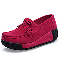 cheap Women's Slip-Ons & Loafers-Women's Shoes Suede Fall Winter Comfort Loafers & Slip-Ons Swing Shoes for Black Gray Red