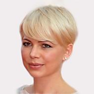 Человеческие волосы без парики Натуральные волосы Прямой Боковая часть Короткие Машинное плетение Парик Жен.