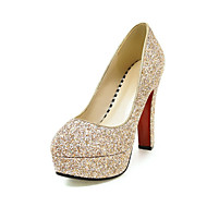 baratos Sapatos Femininos-Mulheres Sapatos Courino Primavera / Outono Conforto Saltos Ponta Redonda Branco / Azul / Rosa claro / Social