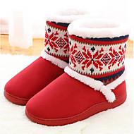 baratos Sapatos Femininos-Mulheres Sapatos Tecido de Poliamida / Algodão Outono / Inverno Conforto Chinelos e flip-flops Azul Escuro / Roxo / Vermelho