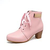 billige -Dame Sko Kunstlær Høst Vinter Trendy støvler Støvler Rund Tå Ankelstøvler Spenne Til Avslappet Formell Svart Gul Rosa