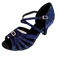 olcso -Női Latin Csillogó flitter Szintetikus Szandál Beltéri Személyre szabott sarok Kék Ezüst/fekete