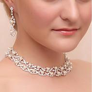 女性用 ドロップイヤリング ネックレス ラインストーン クラシック 結婚式 パーティー 人造真珠 イミテーションダイヤモンド 合金 幾何学形 1×ネックレス イヤリング・ピアス