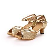 baratos Sapatilhas de Dança-Mulheres Sapatos de Dança Latina Paetês / Courino Salto Lantejoula Salto Personalizado Personalizável Sapatos de Dança Dourado