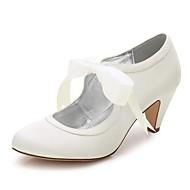 levne Svatební boty-Dámské Boty Hedvábí Jaro / Léto Pohodlné Svatební obuv Oblá špička pro Svatební / Party / Šaty Bílá / Křišťálový