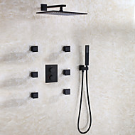 cheap Discount Faucets-Shower Faucet - Contemporary Modern / Contemporary Black Wall Mounted Ceramic Valve