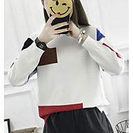 Feminino Padrão Pulôver,Casual Estampa Colorida Decote Redondo Manga Longa Acrílico Inverno Média Micro-Elástica
