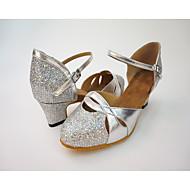 billige Moderne sko-Dame Moderne Kunstlær Honeycomb Høye hæler Innendørs Tvinning Tykk hæl Svart Sølv
