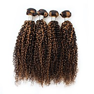 billige -4 deler Svart / Lysebrun Krøllet Peruviansk hår Hårvever med menneskehår Hårforlengelse