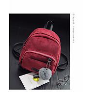 baratos Mochilas-Mulheres Bolsas Veludo mochila Penas / Pêlo Vermelho / Rosa / Amarelo