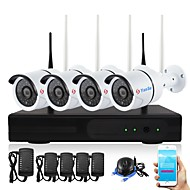 cheap NVR Kits-4Channel 1080P Wireless NVR Kits Waterproof IR Night Vision WIFI IP Camera Security System 2.0MP