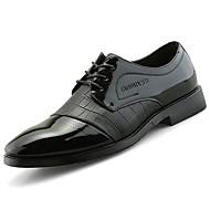 tanie Small Size Shoes-Męskie Buty PU Skóra patentowa Wiosna Jesień formalne Buty Comfort Oksfordki na Casual Impreza / bankiet Black