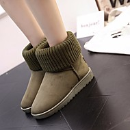 Women's Shoes PU Fall Winter Comfort Snow Boots Boots Flat Heel Round Toe Mid-Calf Boots For Casual Black Green Blue Pink Camel