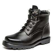 メンズ 靴 本革 秋 冬 フラフライニング ブーツ ブーティー/アンクルブーツ リベット 用途 カジュアル ブラック
