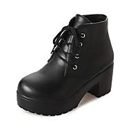 Femme Chaussures Polyuréthane Hiver boîtes de Combat Bottes Bout rond Bottes Mi-mollet Blanc / Noir
