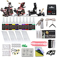 preiswerte Tattoo Beginner Sets-Tätowiermaschine Beginner Set - 3 pcs Tattoo-Maschinen mit 10 x 5 ml Tätowierfarben, Professionell LCD-Stromversorgung Case Not Included 2 x Gusseisen-Tattoomaschine für Umrißlinien und Schattierung