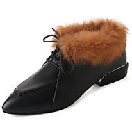 נשים נעליים PU חורף סתיו סוליות מוארות נעלי אוקספורד בוהן פוינט נוצות עבור קזו'אל שחור חום