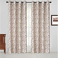 Rod Pocket Grommet Top Tab Top Double Pleat Pencil Pleat Curtain Country , Jacquard Floral Bedroom Polyester Blend Material Blackout