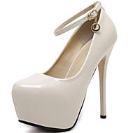 baratos -Feminino Sapatos Couro Envernizado Primavera Outono Plataforma Básica Saltos Para Social Festas & Noite Preto Bege