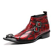 baratos Sapatos de Tamanho Pequeno-Homens Curta/Ankle Pele Napa Outono / Inverno Botas Botas Curtas / Ankle Vermelho / Festas & Noite