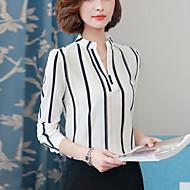 billige Overdele til damer-Lanterne Ærme V-hals Dame - Stribet Farveblok Arbejde Skjorte Polyester