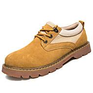 レディース 靴 PUレザー 春 秋 コンフォートシューズ オックスフォードシューズ フラット のために イエロー カーキ色
