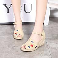 Žene Cipele Tkanina Proljeće Ljeto Udobne cipele Sandale Wedge Heel Peep Toe za Kauzalni Bež