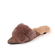 レディース 靴 PUレザー 春 コンフォートシューズ フラット フラットヒール ラウンドトウ のために ブラック キャメル