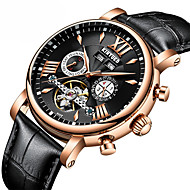 お買い得  機械式腕時計-男性用 機械式時計 スケルトン腕時計 ドレスウォッチ Swiss 自動巻き カレンダー クロノグラフ付き 耐水 本革 バンド ぜいたく カジュアル Elegant ブラック ブラウン