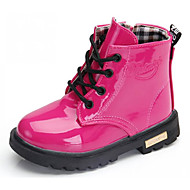 baratos Sapatos de Menina-Para Meninas sapatos Couro Envernizado Outono Inverno Botas de Neve Conforto Botas Caminhada Botas Curtas / Ankle Cadarço Ziper para
