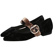 baratos Sapatos Femininos-Mulheres Sapatos Veludo Primavera / Outono Conforto Rasos Nulo Sem Salto Dedo Apontado Nulo Presilha Preto / Verde / Nú