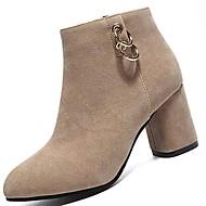 Žene Kašmir Zima Modne čizme Čizme Kockasta potpetica Okrugli Toe Čizme do pola lista Štras Crn / Badem
