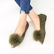 レディース 靴 ヌバックレザー 春 秋 コンフォートシューズ ポンポン フラット ポインテッドトゥ のために カジュアル Brown グリーン ピンク
