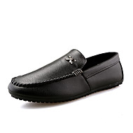 Heren Schoenen PU Lente Herfst Comfortabel Loafers & Slip-Ons Veters voor Causaal Wit Zwart